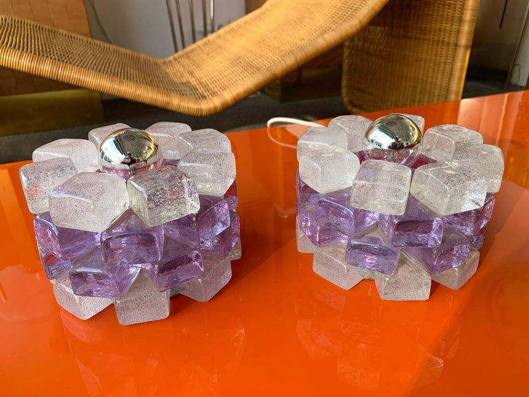 Pair of Glass Cube Lamps by Poliarte, Italy, 1970s For Sale 2