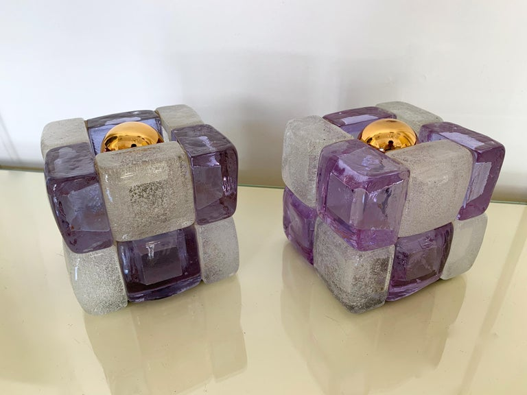 Pair of Glass Cube Lamps by Poliarte, Italy, 1970s For Sale 3