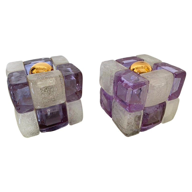 Pair of Glass Cube Lamps by Poliarte, Italy, 1970s For Sale