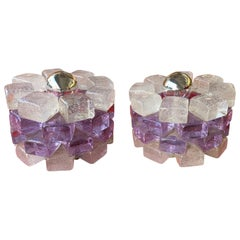 Pair of Glass Cube Lamps by Poliarte, Italy, 1970s