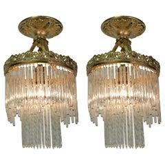 Pair of Glass Drop Bronze Semi Flush Mount Ceiling Light