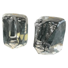 Pair of Glass Face Bookends by Erik Hoglund