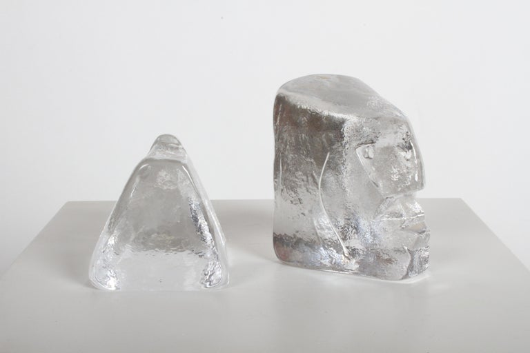 Pair of Glass Face Bookends or Sculptures by Erik Höglund, Sweden, 1960s For Sale 5