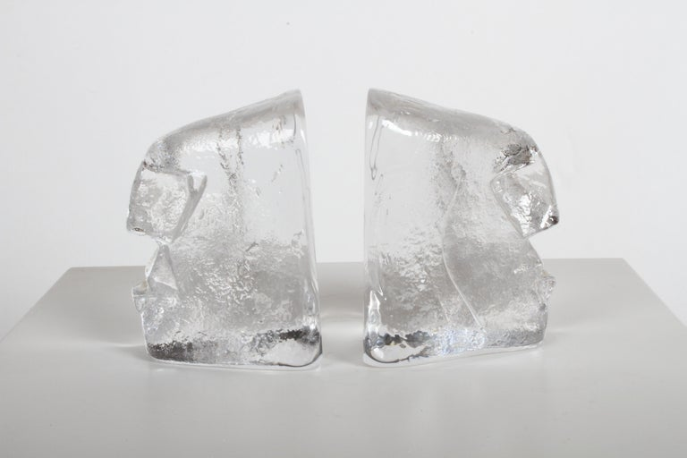 Pair of Glass Face Bookends or Sculptures by Erik Höglund, Sweden, 1960s For Sale 6