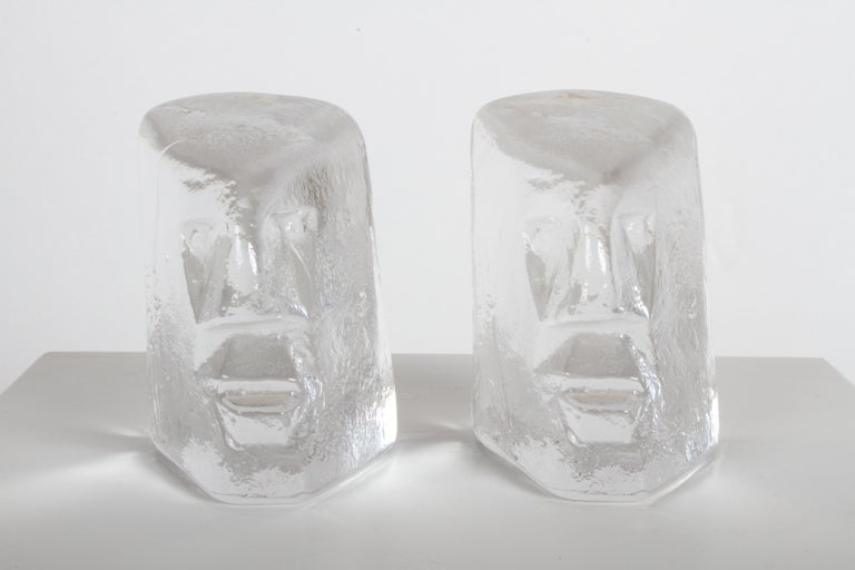Pair of figural glass sculptures or bookends by Erik Höglund, Sweden, 1960s. Produced at Boda glassworks in Sweden during the 1960s. No labels, but still has slight label glue residue on top rear of heads. No chips, very nice condition.
