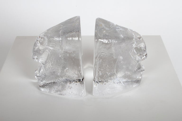 Swedish Pair of Glass Face Bookends or Sculptures by Erik Höglund, Sweden, 1960s For Sale