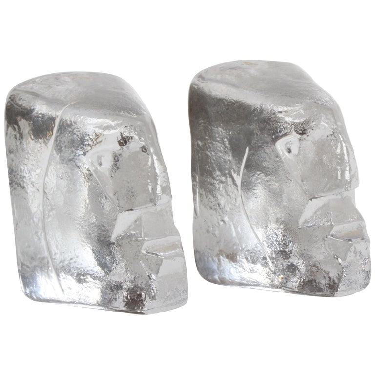 Pair of Glass Face Bookends or Sculptures by Erik Höglund, Sweden, 1960s For Sale