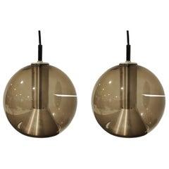 Pair of Glass Globe Pendant Lights by Frank Ligtelijn for Raam, 1960s