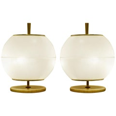 Pair of Glass Globe Table Lamp Attributed to Venini, Italy