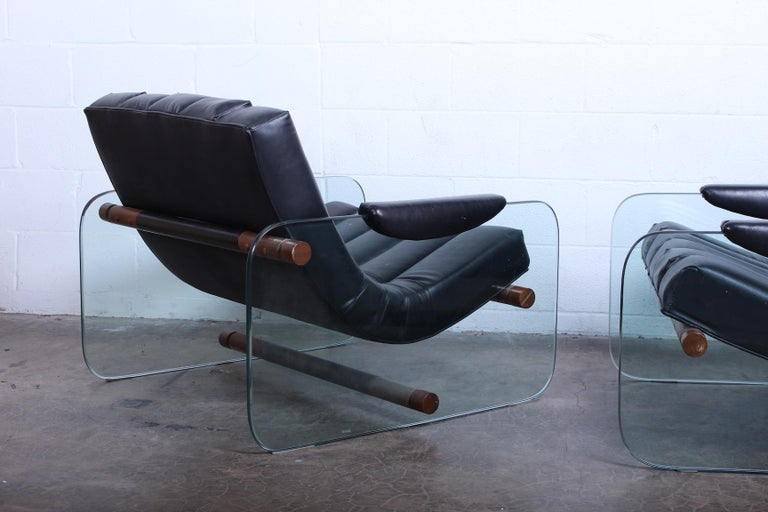 Pair of Glass Mirox Lounge Chairs For Sale 6