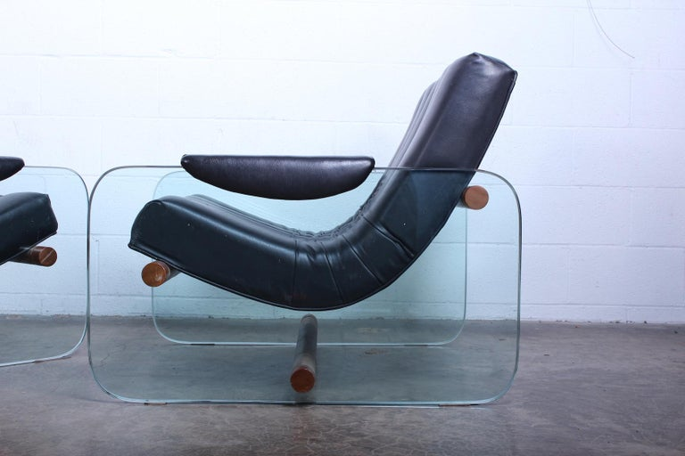 Pair of Glass Mirox Lounge Chairs For Sale 7