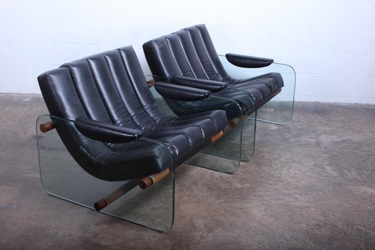 Pair of Glass Mirox Lounge Chairs For Sale 2