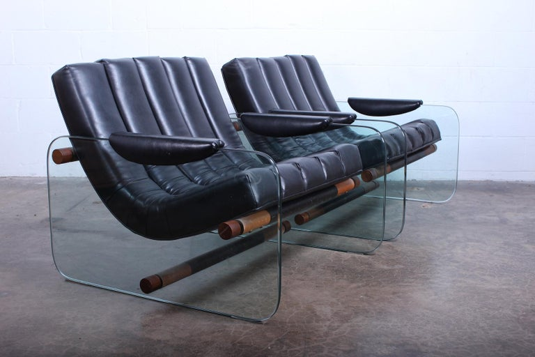 Pair of Glass Mirox Lounge Chairs For Sale 3