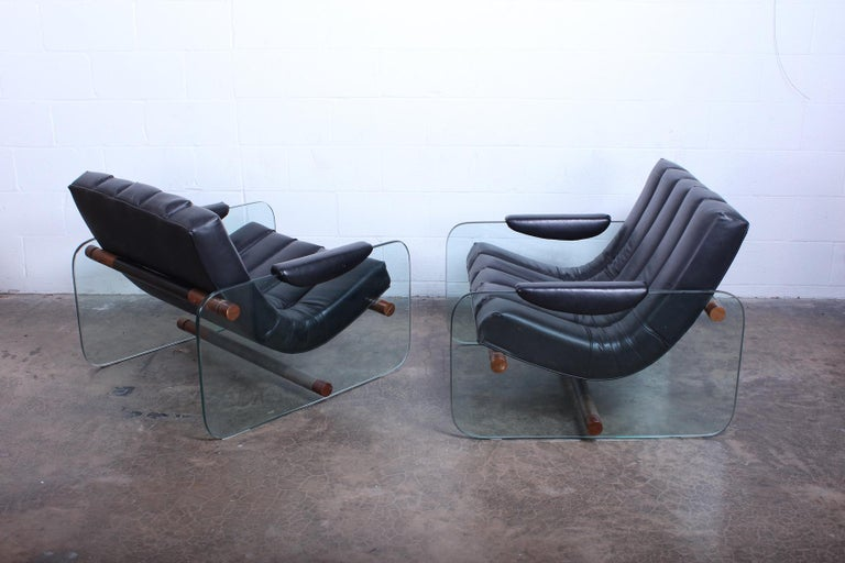 Pair of Glass Mirox Lounge Chairs For Sale 4