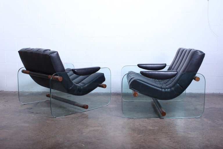 Pair of Glass Mirox Lounge Chairs For Sale 5