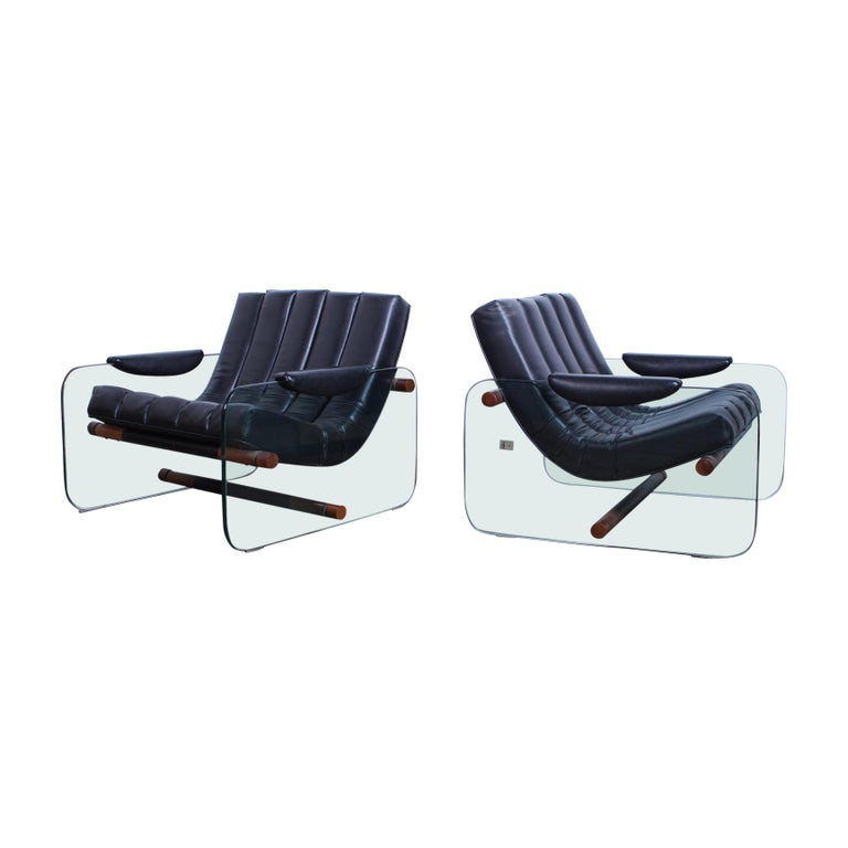 Pair of Glass Mirox Lounge Chairs For Sale