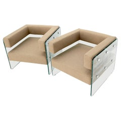 Pair of Glass Panels Frames Cube Shape Lounge Chairs