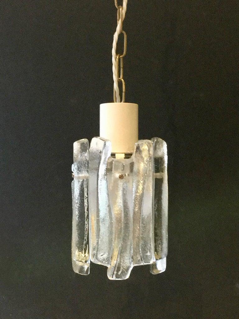 Austrian Pair of Glass Pendant Lights by Kalmar of Austria For Sale