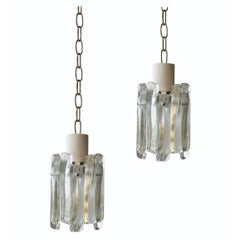 Pair of Glass Pendant Lights by Kalmar of Austria