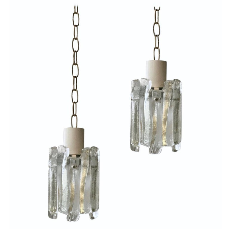 Pair of Glass Pendant Lights by Kalmar of Austria For Sale