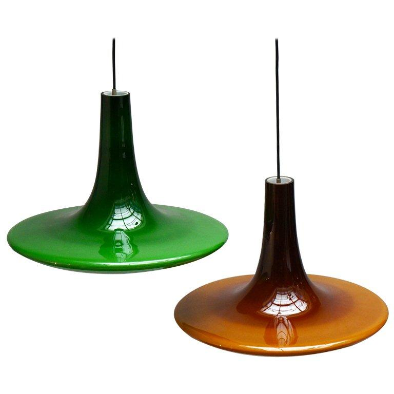 Two Glass Pendant Lights For Sale