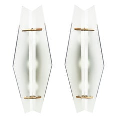 Pair of Glass Sconces by Max Ingrand for Fontana Arte, 1960s
