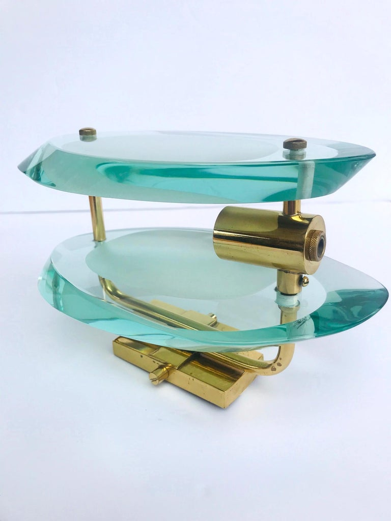 Italian Pair of Glass Sconces by Max Ingrand for Fontana Arte, Italy, circa 1960s For Sale