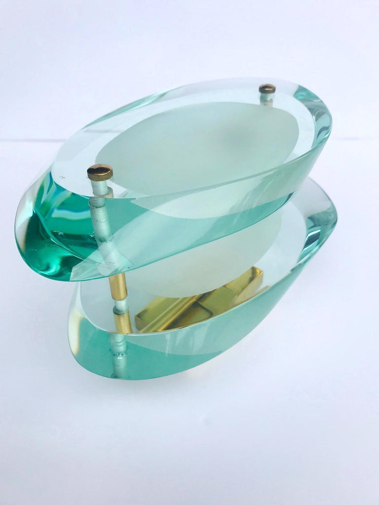 Brass Pair of Glass Sconces by Max Ingrand for Fontana Arte, Italy, circa 1960s For Sale