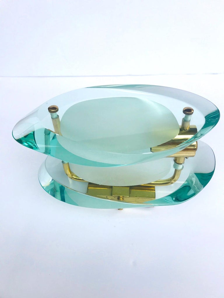 Pair of Glass Sconces by Max Ingrand for Fontana Arte, Italy, circa 1960s For Sale 1