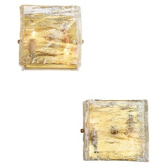Pair of Glass Sconces, Murano, Italy, circa 1960, Clear Glass, Vintage