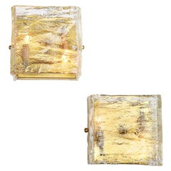 Pair of Glass Sconces, Murano, Italy, Midcentury, Clear Glass with Brass Detail