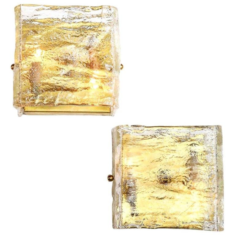 Pair of Glass Sconces, Murano, Italy, Midcentury Italian, circa 1960, Clear For Sale