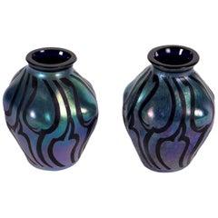 Pair of Glass Small Vases, Austria, 20th Century