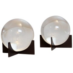 Pair of Glass Spheres on Base