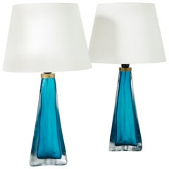 Pair of Glass Table Lamps by Carl Fagerlund