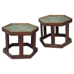 Pair of Glass Top Hexagon Side Tables by John Keal for Brown Saltman
