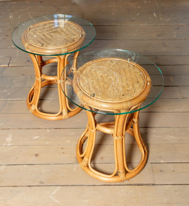 Mid-Century Modern Pair of Glass Top Rattan and Woven Wicker Tables with Brass Details For Sale