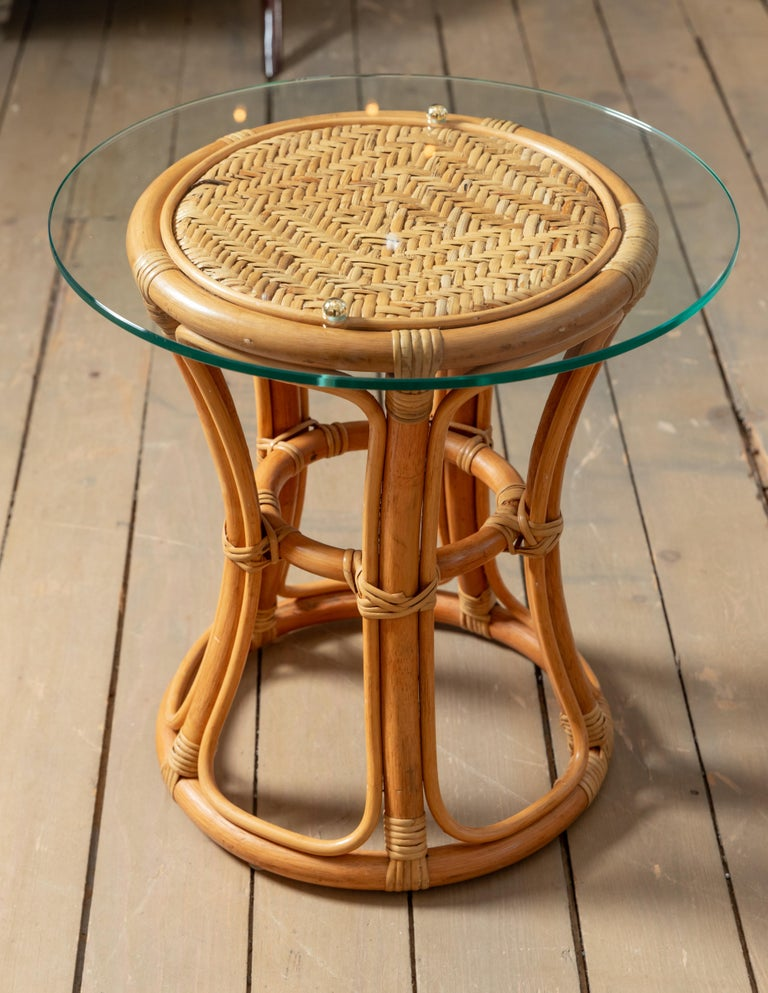 Hand-Woven Pair of Glass Top Rattan and Woven Wicker Tables with Brass Details For Sale