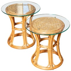Pair of Glass Top Rattan and Woven Wicker Tables with Brass Details