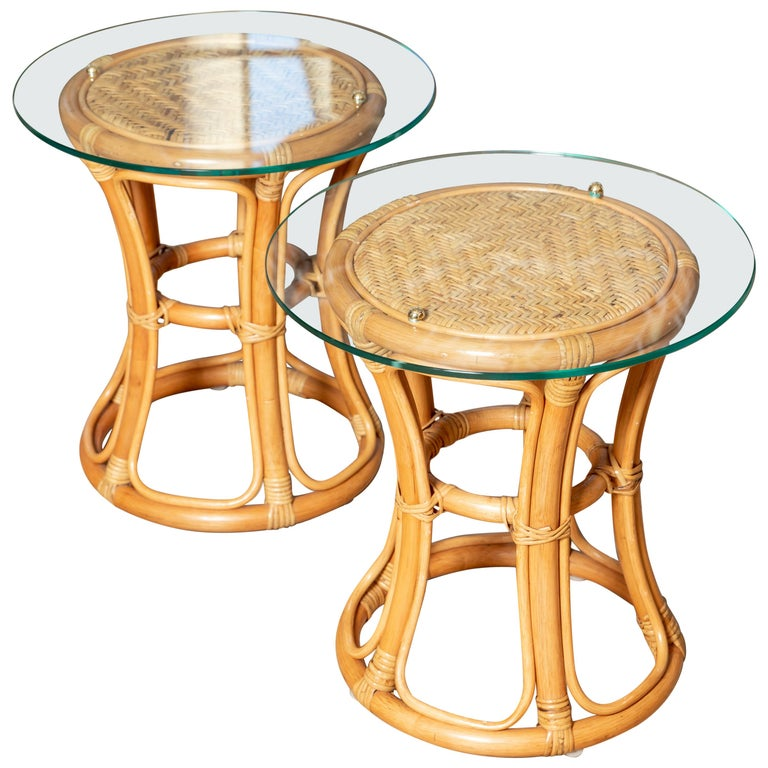 Pair of Glass Top Rattan and Woven Wicker Tables with Brass Details For Sale
