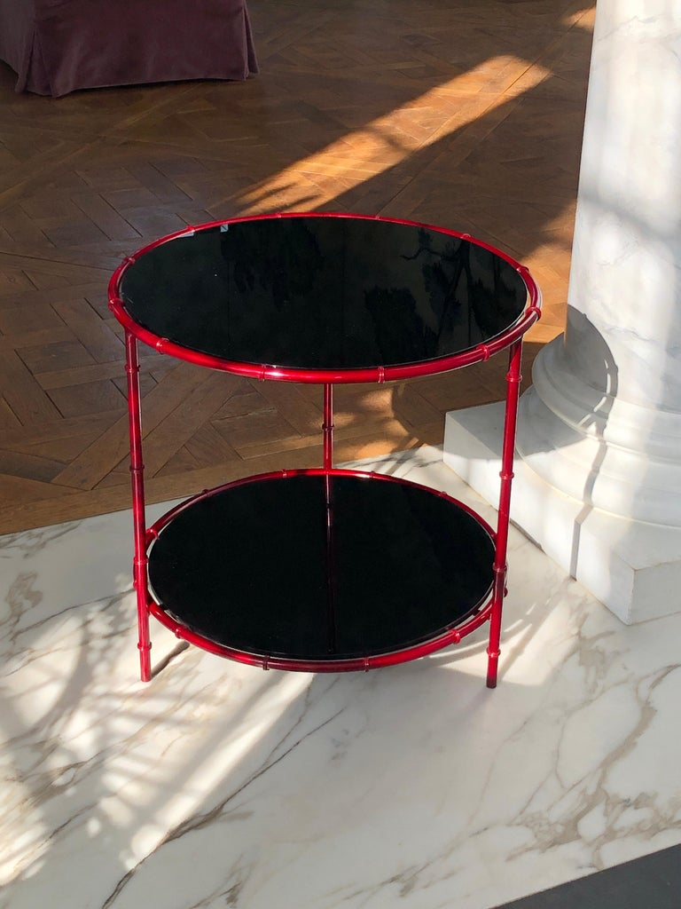 Enameled Asian Inspired Side Tables For Sale