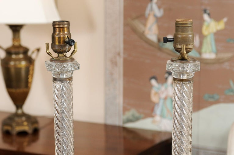 Pair of Glass Twisted Column Lamps, 20th Century For Sale 5