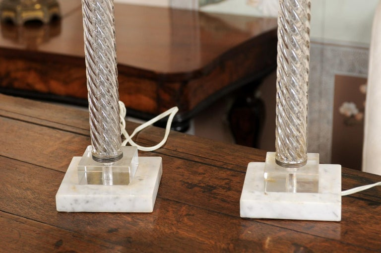 Pair of Glass Twisted Column Lamps, 20th Century For Sale 6