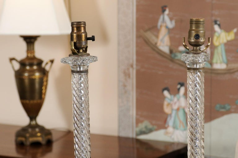 Pair of Glass Twisted Column Lamps, 20th Century In Good Condition For Sale In Atlanta, GA