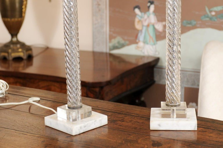 Brass Pair of Glass Twisted Column Lamps, 20th Century For Sale