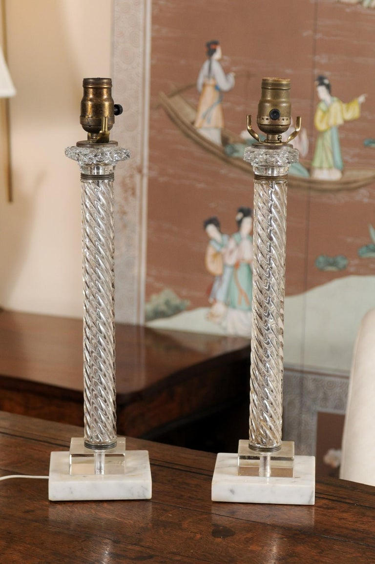 Pair of Glass Twisted Column Lamps, 20th Century For Sale 1