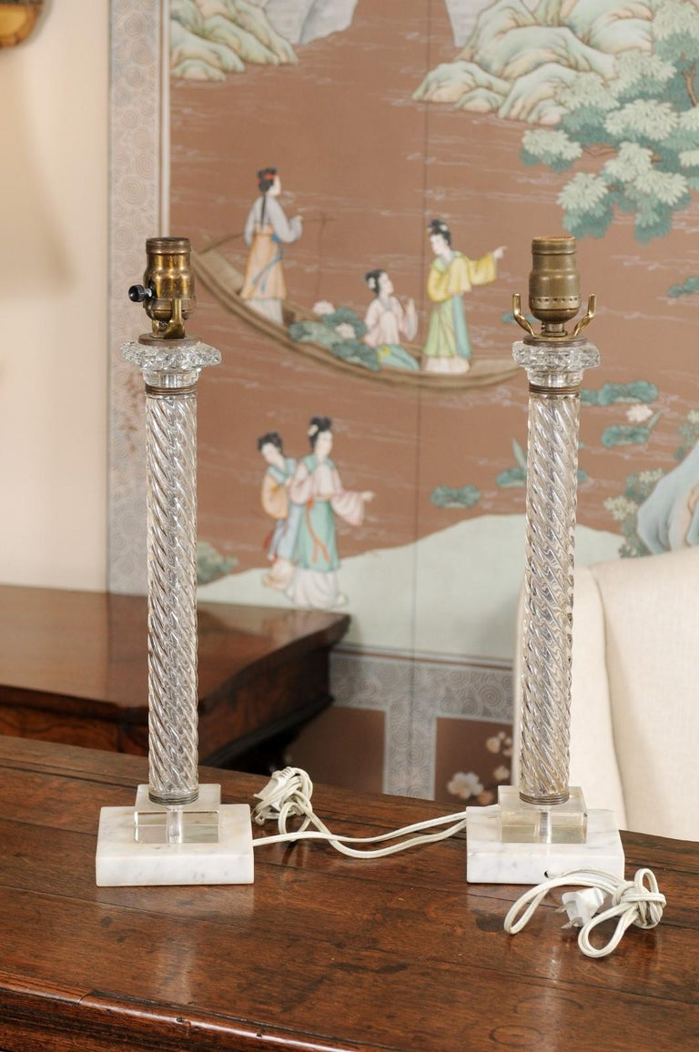 Pair of Glass Twisted Column Lamps, 20th Century For Sale 3