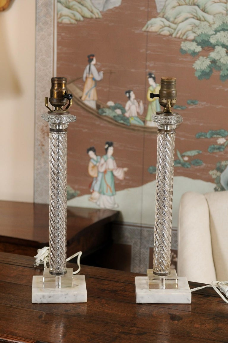 Pair of Glass Twisted Column Lamps, 20th Century For Sale 4