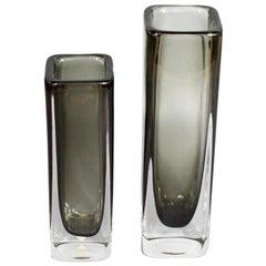 Pair of Glass Vases by Nils Landberg for Orrefors Glassworks, Swedish circa 1950