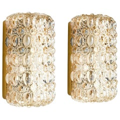 Pair of Glass Wall Sconces by Helena Tynell for Glashütte Limburg, 1960